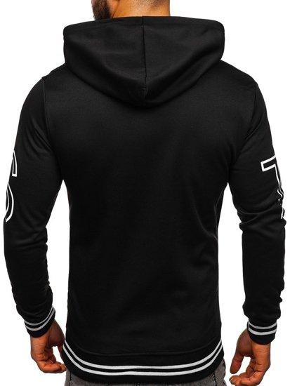 Bluza męska z kapturem z nadrukiem czarna Denley 8917