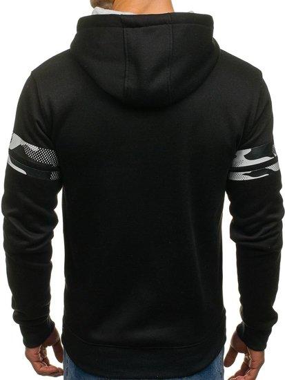 Bluza męska z kapturem z nadrukiem czarna Denley DD161