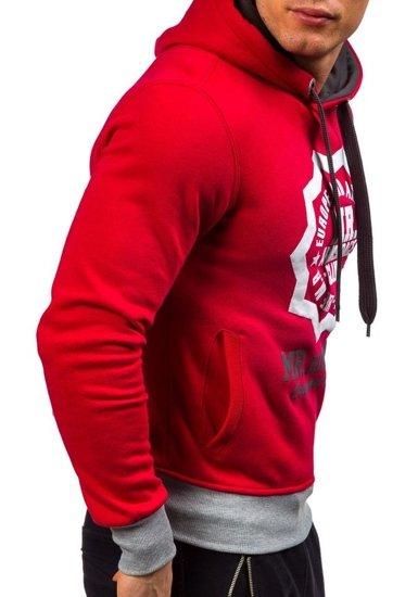 Bluza męska z kapturem z nadrukiem czerwona Denley 1054