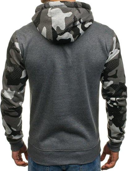 Bluza męska z kapturem z nadrukiem grafitowa Denley DD53