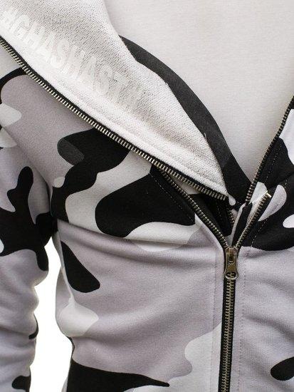 Bluza męska z kapturem z nadrukiem moro-biało-czarna Denley 0796