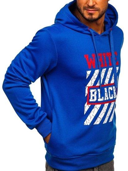 Bluza męska z kapturem z nadrukiem niebieska Denley BK01