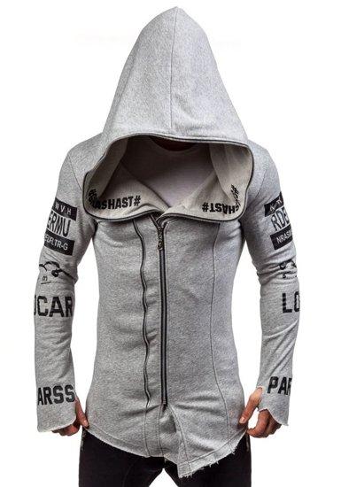 Bluza męska z kapturem z nadrukiem szara Denley 2036