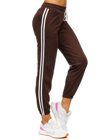 Brązowe spodnie dresowe damskie Denley YW01020D
