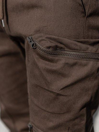 Brązowe spodnie joggery bojówki męskie Bolf 0475