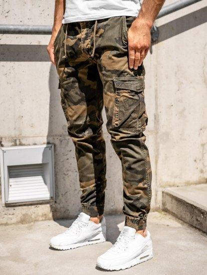 Brązowe spodnie joggery bojówki męskie Denley CT6016