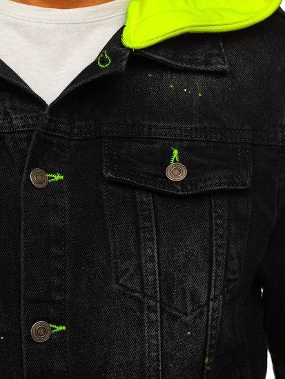 Czarna jeansowa kurtka męska z kapturem Bolf 1-2