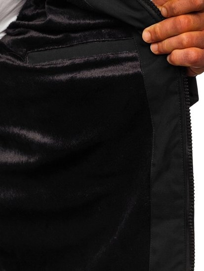 Czarna pikowana kurtka męska zimowa Denley J1906