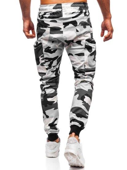 Czarno-białe spodnie joggery bojówki męskie Denley 0475