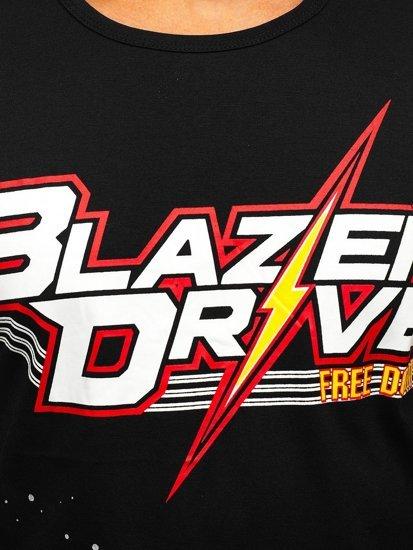 Czarny T-shirt męski z nadrukiem Denley KS2302