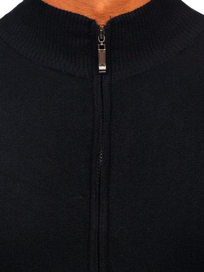 Czarny rozpinany sweter męski Denley YY07