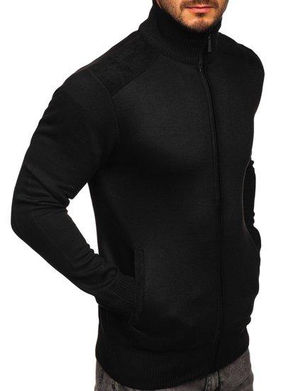 Czarny sweter męski ze stójką rozpinany Denley H2057