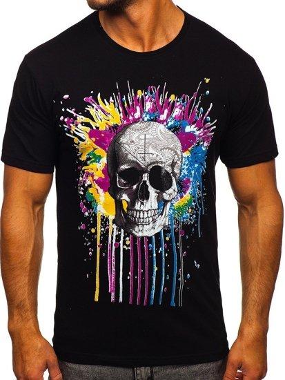 Czarny t-shirt męski z nadrukiem Bolf 142170