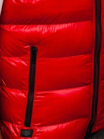 Czerwona pikowana kamizelka męska z kapturem Denley 6506