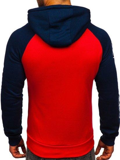 Czerwona z nadrukiem bluza męska z kapturem Denley KS2124