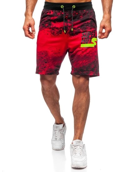 Czerwone dresowe krótkie spodenki męskie Denley KK300163