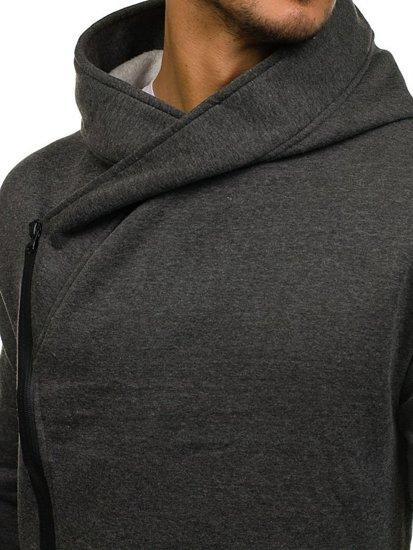 Długa bluza męska z kapturem grafitowa Denley 2037