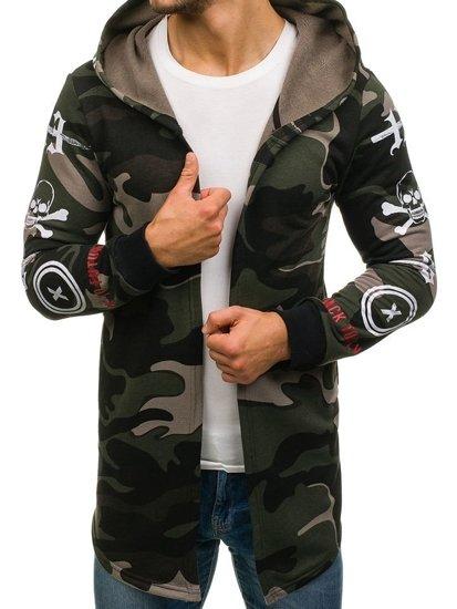 Długa bluza męska z kapturem moro-zielona Denley 171491