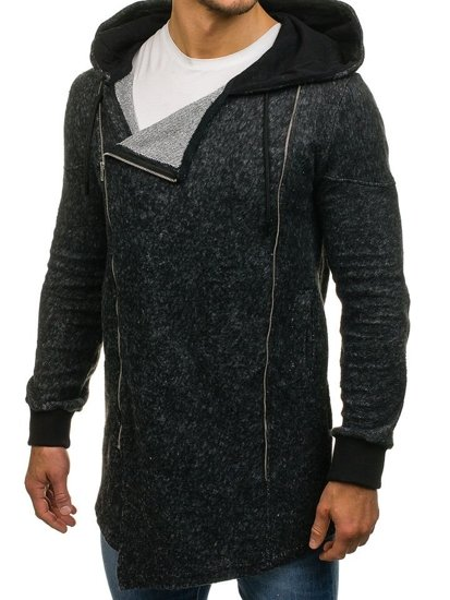 Długa bluza męska z kapturem rozpinana czarna Denley 171693