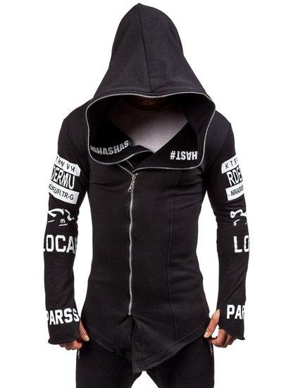 Długa bluza męska z kapturem z nadrukiem czarna Denley 2036