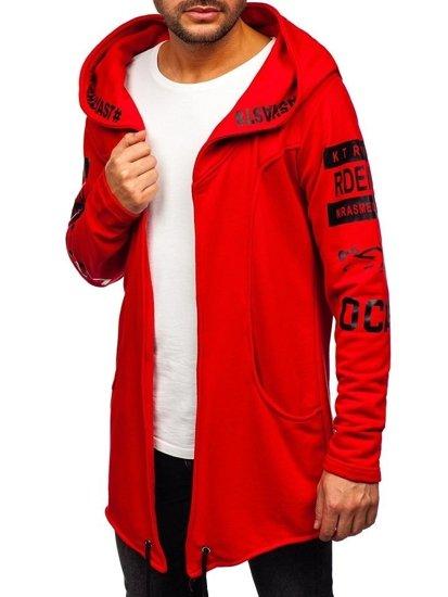 Długa bluza męska z kapturem z nadrukiem czerwona Denley 11110