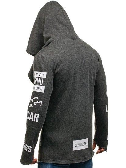 Długa bluza męska z kapturem z nadrukiem grafitowa Denley 2039