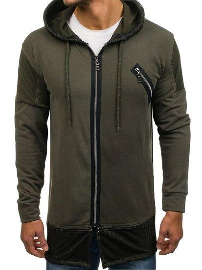 Długa bluza męska z kapturem zielony Denley NRT540
