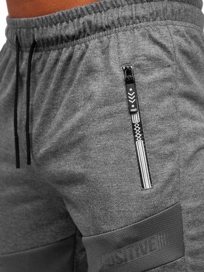 Grafitowe dresowe krótkie spodenki męskie Denley JX810