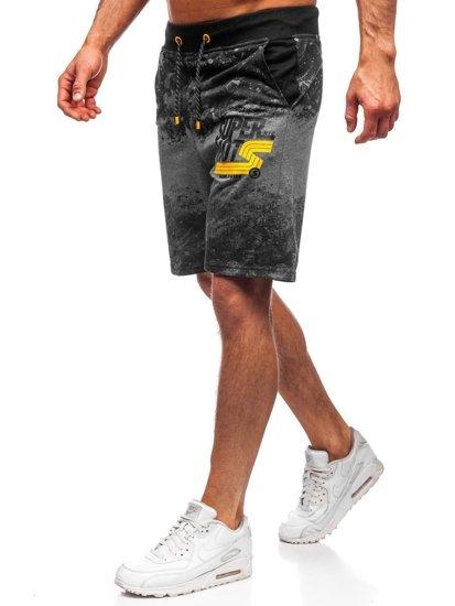 Grafitowe dresowe krótkie spodenki męskie Denley KK300163