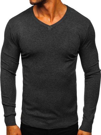 Grafitowy sweter męski w serek Denley YY03