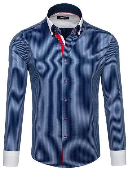 Granatowa koszula męska elegancka z długim rękawem Bolf 2790