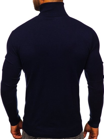 Granatowy golf sweter męski bez nadruku Denley YY02