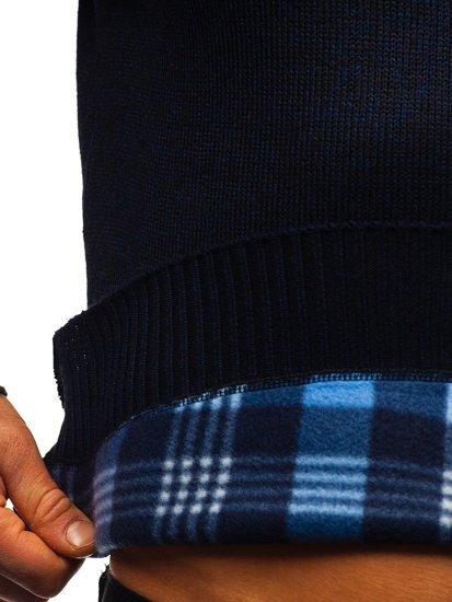 Granatowy ocieplany sweter męski Denley 7M117