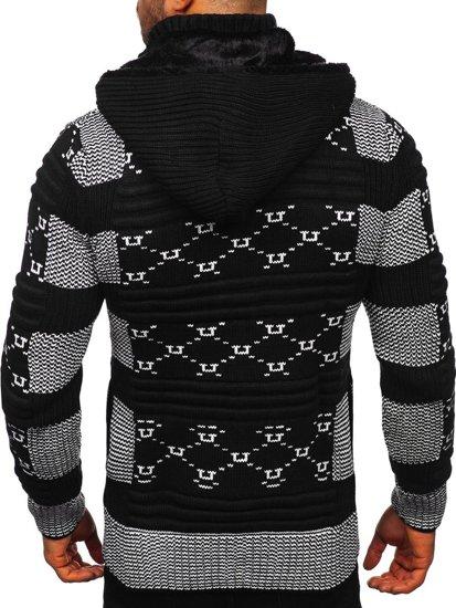 Gruby czarny rozpinany sweter męski z kapturem kurtka Denley 2059