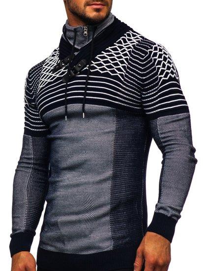 Gruby granatowy sweter męski ze stójką Denley 1067