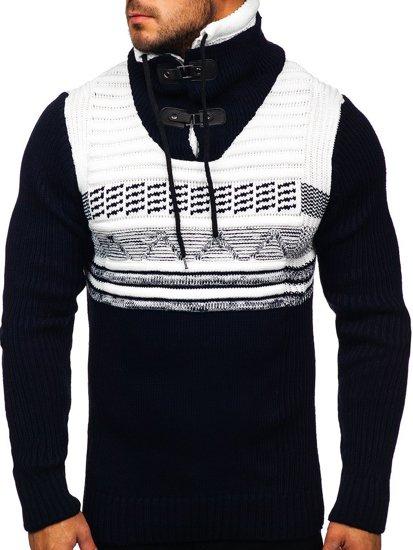 Gruby granatowy sweter męski ze stójką Denley 2020