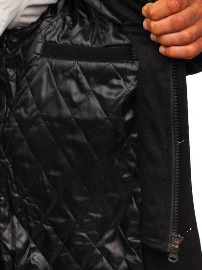 Jednorzędowy płaszcz męski z wysokim kołnierzem czarny Denley 8853