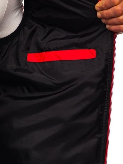 Kamizelka męska pikowana z kapturem czerwona Denley 5801