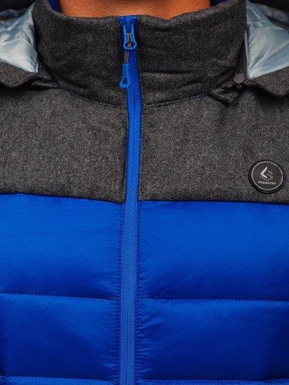 Kamizelka męska pikowana z kapturem niebieska Denley AB045