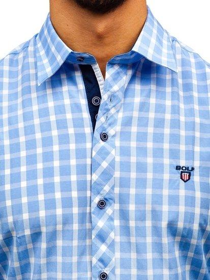 Koszula męska elegancka w kratę z długim rękawem błękitna Bolf 4747