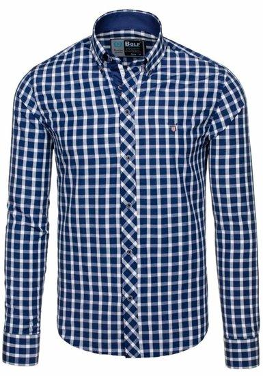 Koszula męska elegancka w kratę z długim rękawem granatowa Bolf 4747-1