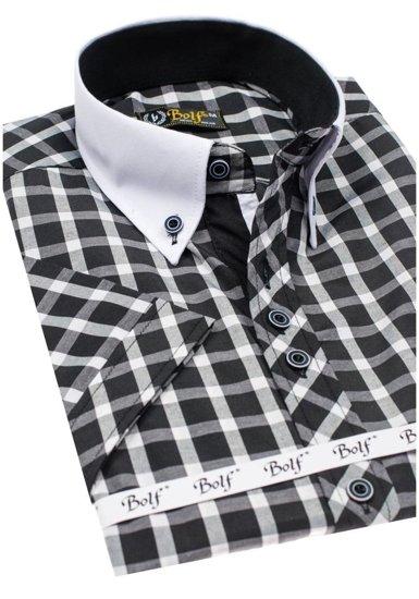 Koszula męska elegancka w kratę z krótkim rękawem czarna Bolf 5531
