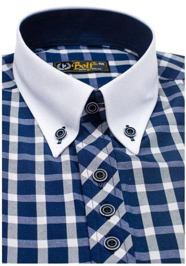Koszula męska elegancka w kratę z krótkim rękawem granatowa Bolf 5531