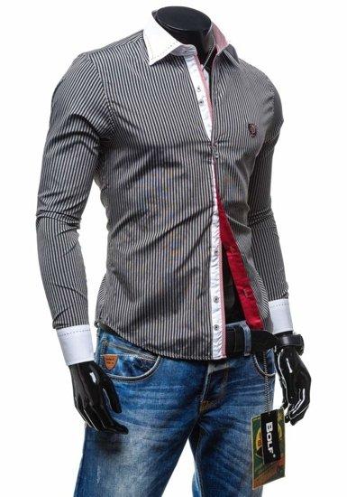Koszula męska elegancka w paski z długim rękawem czarna Bolf 4784-1