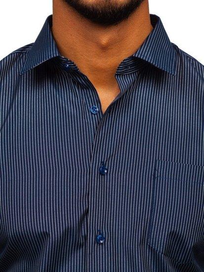 Koszula męska elegancka w paski z długim rękawem granatowa  5I0WN