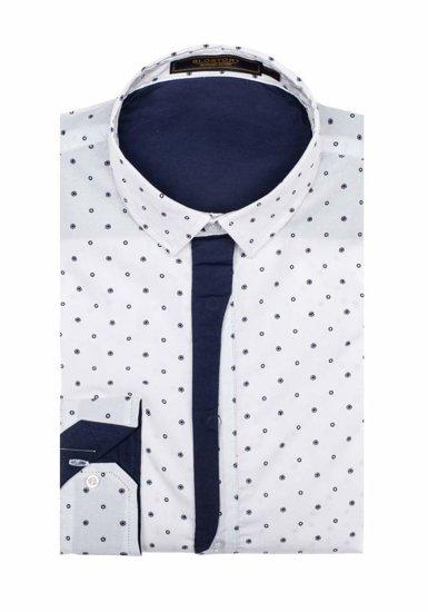 Koszula męska elegancka we wzory z długim rękawem biała Denley 1756