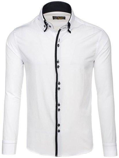Koszula męska elegancka z długim rękawem biała Bolf 1721-A