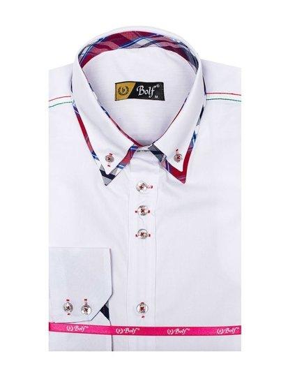 Koszula męska elegancka z długim rękawem biała Bolf 3701