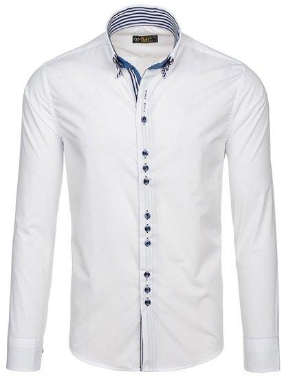 Koszula męska elegancka z długim rękawem biała Bolf 4703