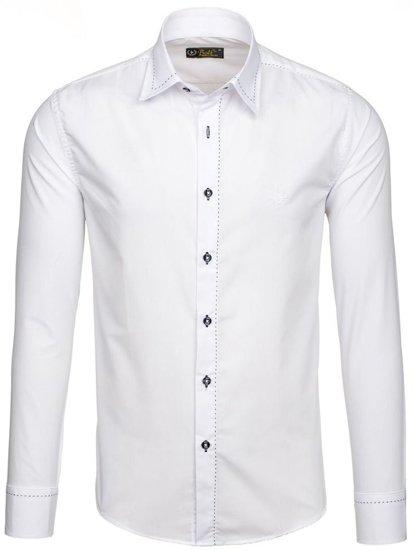 Koszula męska elegancka z długim rękawem biała Bolf 4719